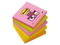 Memoblok 3M Post-it 654-SN Super Sticky 76x76mm neon kleuren