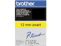 Labeltape Brother P-touch TC601 12mm zwart op geel