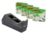Plakbandhouder Scotch C38 + 4rol magic tape 19mmx33m zwart