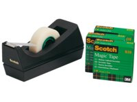 Plakbandhouder Scotch C38 met 4rollen magic 810 19mmx33m
